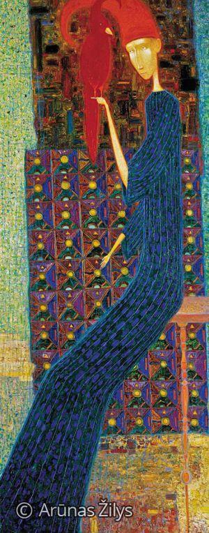 "Arūnas Žilys ""Su raudonu paukščiu"", 150 X 60 cm. 2000 m."