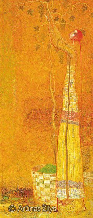 """Arūnas Žilys """"Vynuogių rinkėja"""", 150 X 60 cm. 1998 m."""