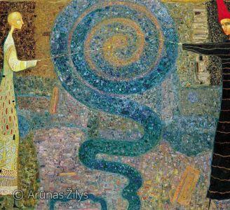 """Arūnas Žilys """"Mėlynai"""", 120 X 140 cm. 2002 m."""