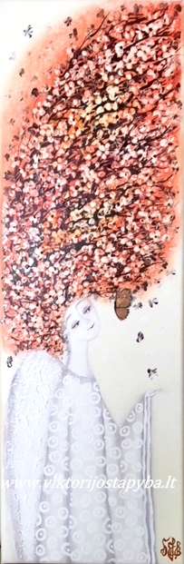 """Viktorija Jasinskaitė-Bobina """"Rudens angelas"""" 20 X 60 cm. Paveikslas parduotas"""