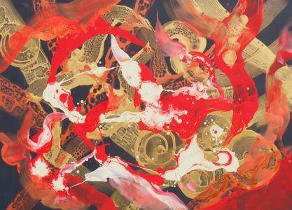 """Rita Rimšienė paveikslas iš ciklo """"Minčių skaitiniai XII"""", drobė, akrilas, 110X150 cm. 2017 m."""