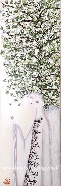 """Viktorija Jasinskaitė-Bobina """"Šviesus angelas su žaliu medžiu""""; 20 X 60 cm. Paveikslas parduotas"""