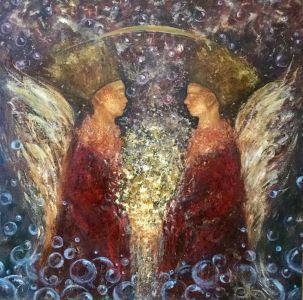 """Areta Didžionienė paveikslas """"Šviesos nešėjai"""" 100 X 100 cm"""