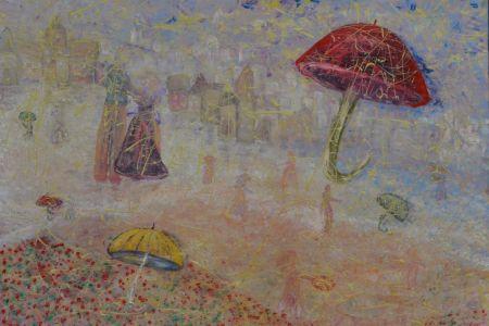 """Zita Virginija Tarasevičienė """"Lietuje"""", paveikslo matmenys 130 X 150 cm. Paveikslo kaina 550 Eur."""