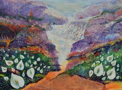 """Zita Virginija Tarasevičienė diptikas """"Tiltas"""", paveikslo matmenys 120 X 100 cm. Paveikslo kaina 800 Eur."""