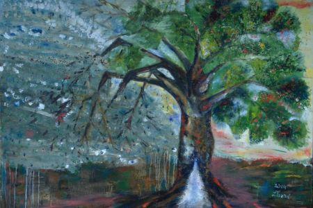 """Zita Virginija Tarasevičienė """"Toks tamsus abstraktas"""", paveikslo matmenys 120 X 100 cm. Paveikslo kaina 400 Eur"""