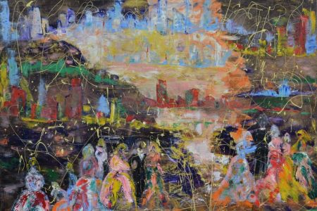 """Zita Virginija Tarasevičienė """"Kalijų slėnis"""", paveikslo matmenys 200 X 180 cm. Paveikslo kaina 800 Eur."""