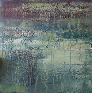 "Daiva Kupstienė paveikslas ""Tyla"", 90 X 90 cm., mišri technika. Kaina 1560 Eur. 2018 m."