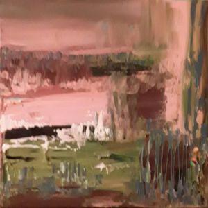 """Daiva Kupstienė paveikslas """"Peizažas"""", akrilas, drobė, 30 X 30 cm. Kaina 135 Eur. 2018 m."""