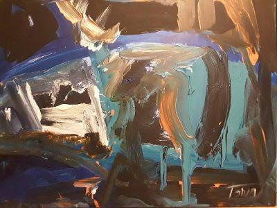 """Daiva Kupstienė paveikslas """"Fragmentas"""", 80 X 100 cm. Kaina 1755 Eur. 2017 m."""