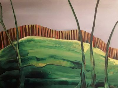 """Daiva Kupstienė, paveikslas """"Už tvoros"""", drobė, aliejus, 60 X 80 cm. Kaina 675 Eur. 2017 m."""