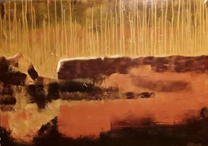 """Daiva Kupstienė paveikslas """"Kitame krante"""", 70 X 100 cm. Kaina 1350 Eur. 2017 m."""