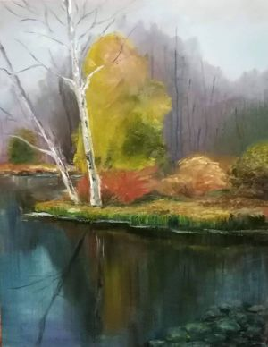 """Janina Audra Fiserienė-Toleikytė """"Botanikos sode"""". aliejus, drobė, 70 X 55 cm. 2018 m. Kaina 270 Eur"""