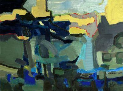 Rūta Levulienė. 60x80-Mėlina-žalias-peizažas-aliejus-drobė