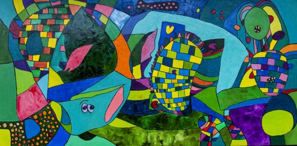 """Raminta Ardzevičienė. """"Žalias"""" 2014 m. drobė, aliejus, 50 X 120 cm. Kaina 550 Eur."""