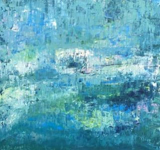 """Jolita Lubienė paveikslas """"Jūržolės"""" paveikslo matmenys 70X90 cm. atlikimo technika akrilas, drobė sukūrimo metai 2019 m."""