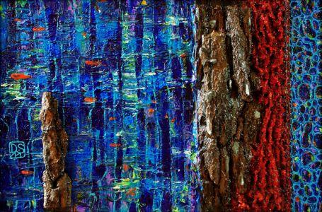 """Deivis Slavinskas """"Ežero sonata"""", 2011 m., 150 X 150 cm. Akrilas ant drobės."""