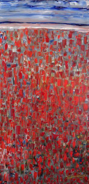 """Deivis Slavinskas """"Aguonų laukas"""", 2014 m., 40 X 40 cm. Akrilas ant drobės."""