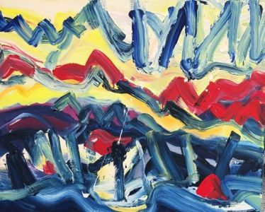 """Jolita Lub ienė paveikslas """"Nardymas""""paveikslo matmenys 80X100 cm. atlikimo technika akrilas, drobė, sukūrimo metai 2019 m."""