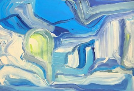 """Jolita Lubienė paveikslas """"Šilkinė vasara"""" paveikslo matmenys 60X80 cm. atlikimo technika akrilas, drobė, sukūrimo metai 2017 m."""
