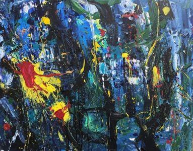 """Jolita Lubienė paveikslas """"Sutemos Nemajūnuose"""" paveikslo matmenys 80X100 cm. paveikslo atlikimo technika drobė, aliejus, Sukūrimo metai 2019 m."""
