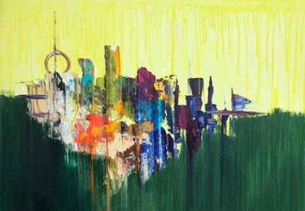 """Jolita Lubienė paveikslas """"Miestas"""" paveikslo matmenys 70X90 cm. atlikimo technika drobė, aliejus."""