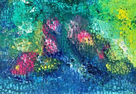 """Jolita Lubienė paveikslas """"Vidurvasaris"""" paveikslo matmenys 80X100 cm. atlikimo technika aliejus, drobė, sukūrimo metai 2019 m."""