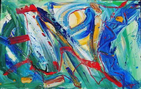 """Jolita Lubienė paveikslas """"Impulsai"""" paveikslo matmenys 70X90 cm. atlikimo technika drobė, aliejus, sukūrimo metai 2017 m."""