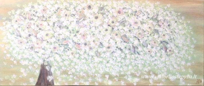 """Viktorija Jasinskaitė-Bobina """"Vasarinis ryto gaivumas"""" 140 X 60 cm. Paveikslas parduotas"""