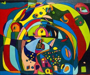 """Raminta Ardzevičienė. Spalvotos balos"""" 2015 m. drobė, aliejus, 70 X 60 cm. Kaina 550 Eur."""