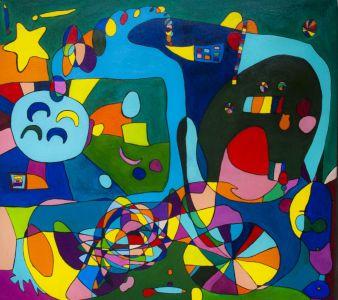 """Raminta Ardzevičienė """"Keturi mėnuliai"""" 2015 m. drobė, aliejus, 80 X 70 cm. Kaina 500 Eur."""