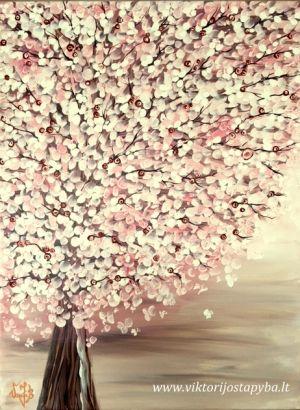 """Viktorija Jasinskaitė-Bobina """"Rožinis gaivusis 45 X 60 cm. Paveikslas parduotas"""