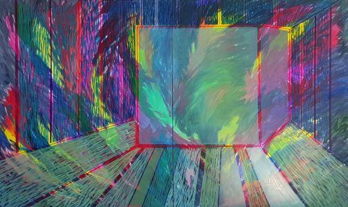"""Lina Morkūnaitė-Vilkelienė """"Atskirtis V"""", 2017 m. 120X 120 cm. drobė, akrilas, aliejus."""