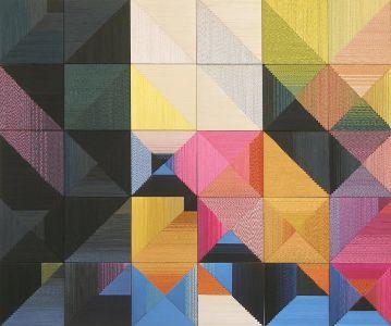 Danguolė Brogienė. Pažaiskime su spalvomis. 2010 m., aut. techn., šilkas, liureksas, vilna. 100 x 100 cm.