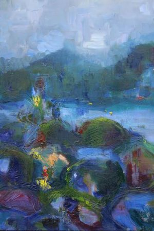 "Kristina Čivilytė. ""The reflection of blue Mystic"" (oil, canvas, 70x50, 2016). Price 400 Eur."