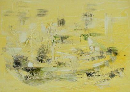 "Kristina Čivilytė. ""Sails sail""  (50x70, mixed media, canvas, 2017). Price 450 Eur."