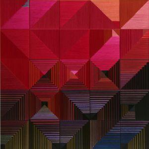 Danguolė Brogienė. Tek Aušrelė... 2012 m., aut. techn., šilkas, liureksas, vilna. 100 x 100 cm.