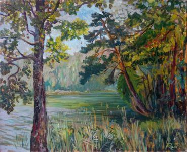"""Rūta Barniškytė-Klusienė """"Žaliasis ežeras"""" 2005m. Aliejus, drobė, 60 X 75,5 cm. Kaina 340 Eur."""