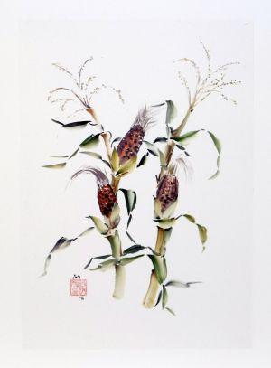 """Ina Loreta Savickienė """"Kukūruzai"""", 2016 m. 34 X 49 cm. Kaina 486 Eur,"""