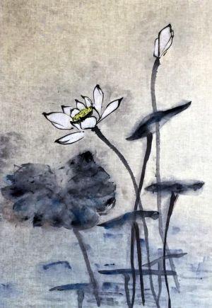 """Ina Loreta Savickienė """"Lotosas"""" 2017 m. Matmenys 36X47 cm. Atlikimo technika:  tušas ir mineraliniai dažai ant ryžių popieriaus, klijuota ant putų kartono. Kaina 621 Eur."""