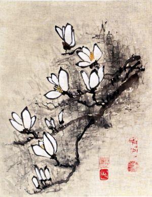 """Ina Loreta Savickienė """"Žydinčios magnolijos"""" 2017 m. Matmenys 36 X 45 cm. Atlikimo technika:  Tušas ir mineraliniai dažai ant ryžių popieriaus, klijuota ant putų kartono. Kaina 486 Eur."""
