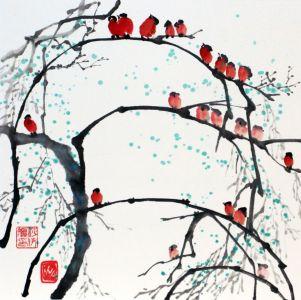 """Ina Loreta Savickienė """"21 paukštelis"""" 2017 m. Matmenys 34 X 34 cm. Atlikimo technika: tušas ir mineraliniai dažai ant ryžių popieriaus ant klijuoto kartono. Kaina 489 Eur."""