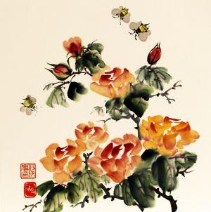"""Ina Loreta Savickienė """"Rožės ir bitės"""". 2017 m. Matmenys 34 X 35 cm. Atlikimo technika: tušas ir mineraliniai dažai ant ryžių popieriaus, klijuota ant kartono. Kaina 324 Eur."""
