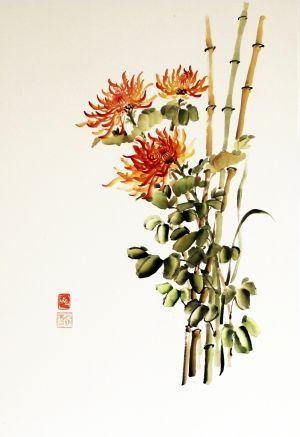"""Ina Loreta Savickienė """"Diptikas su chrizantemomis II"""" 2016 m. Matmenys 47 X 69 cm. Atlikimo technika: tušas ir mineraliniai dažai ant ryžių, klijuota ant putų kartono. Kaina 486 Eur."""