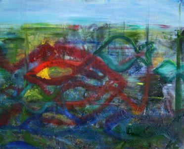 "Kristina Čivilytė. ""Fishes go"" (80x100, oil, canvas, 2016). Price 400 Eur."