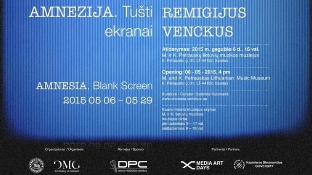 Medijų menininko doc. dr. Remigijaus Venckaus parodos plakatas.