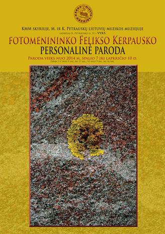 Fotomenininko Felikso Kerpausko parodos plakatas