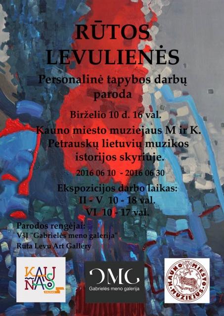 Personalinės Rūtos Levulienės tapybos darbų parodos plakatas