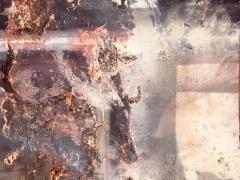 """Egidija Brinkytė iš ciklo """"Ugnies liekanos"""" MDP, aliejiniai, emaliniai dažai, 90 X 90, 2014 m. 300 €."""