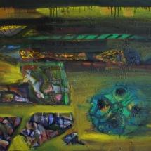 Jovita Glemžaitė-Matuzienė. ''Landscape of the soldier''. 2014. Canvas, oil, acrylic. Size 70 X 40. Price 850 Eur.